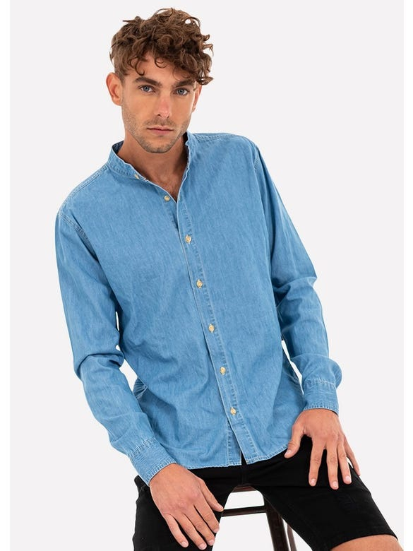 CAMISA DENIM CUELLO MAO