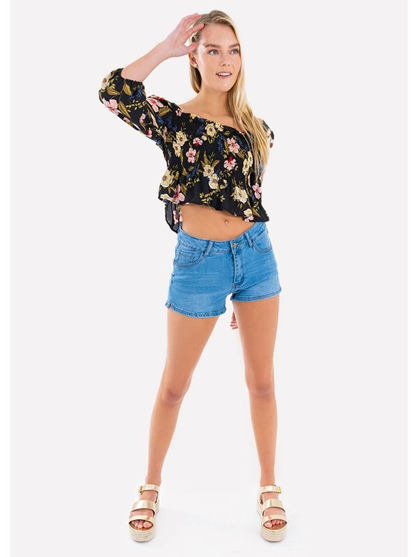 SHORT DENIM CON LATERALES
