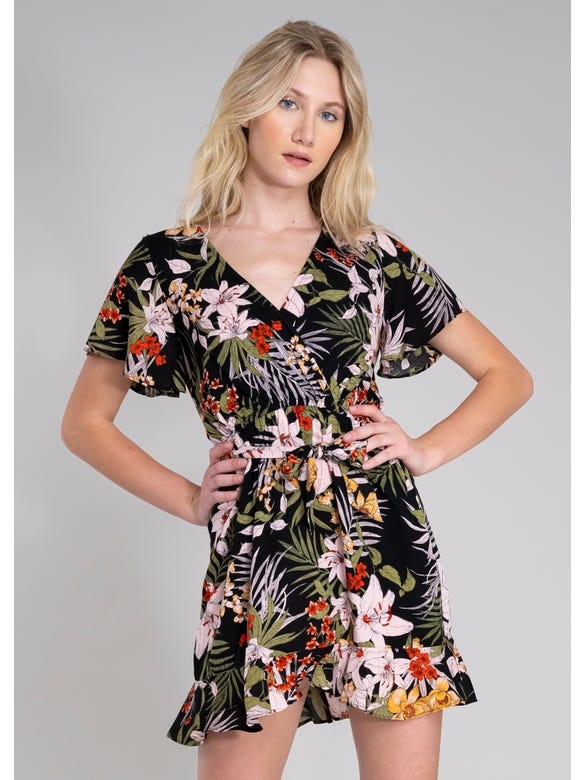 (CT)VESTIDO ESTAMPADO TROPICAL