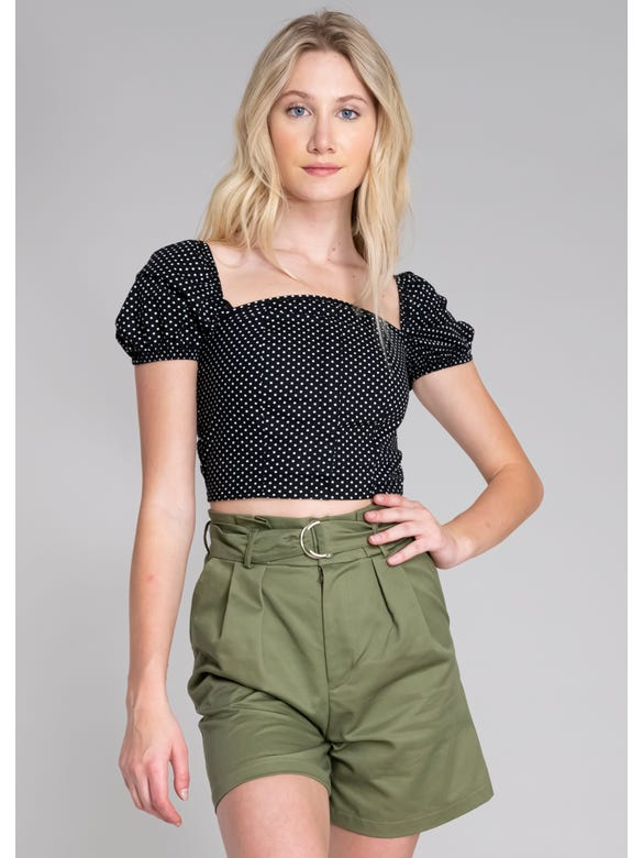 (FN)CROP TOP POLKAS M/ABULLON