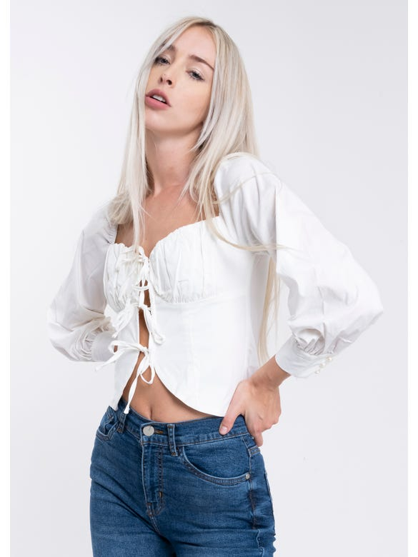 Blusa Lace Up Moños