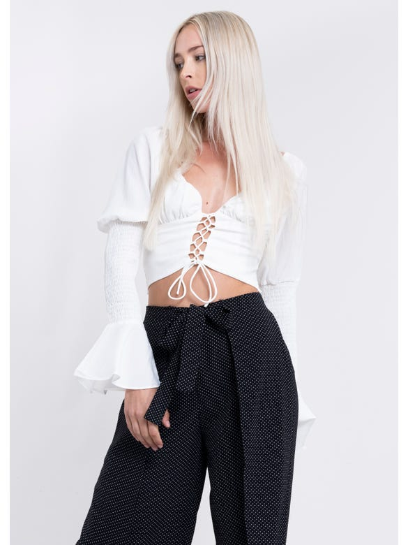Blusa Smock Lace Up